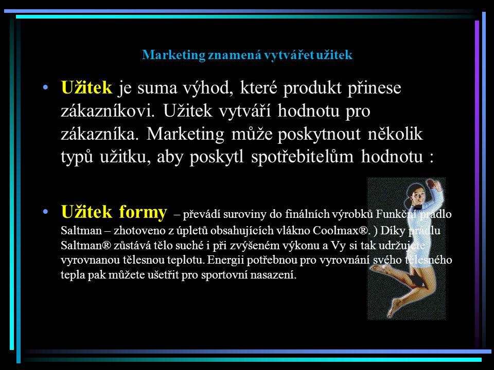 Marketing znamená vytvářet užitek Užitek je suma výhod, které produkt přinese zákazníkovi. Užitek vytváří hodnotu pro zákazníka. Marketing může poskyt