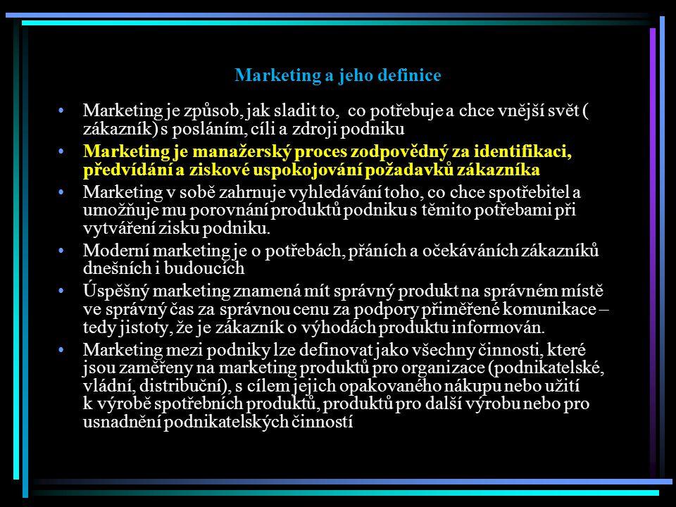 Marketing a jeho definice Marketing je způsob, jak sladit to, co potřebuje a chce vnější svět ( zákazník) s posláním, cíli a zdroji podniku Marketing je manažerský proces zodpovědný za identifikaci, předvídání a ziskové uspokojování požadavků zákazníka Marketing v sobě zahrnuje vyhledávání toho, co chce spotřebitel a umožňuje mu porovnání produktů podniku s těmito potřebami při vytváření zisku podniku.