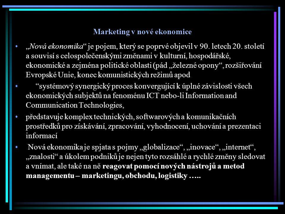 Internet jako součást nové ekonomiky Pro novou ekonomiku je charakteristická často používaná předpona e , respektive přívlastek elektronický .