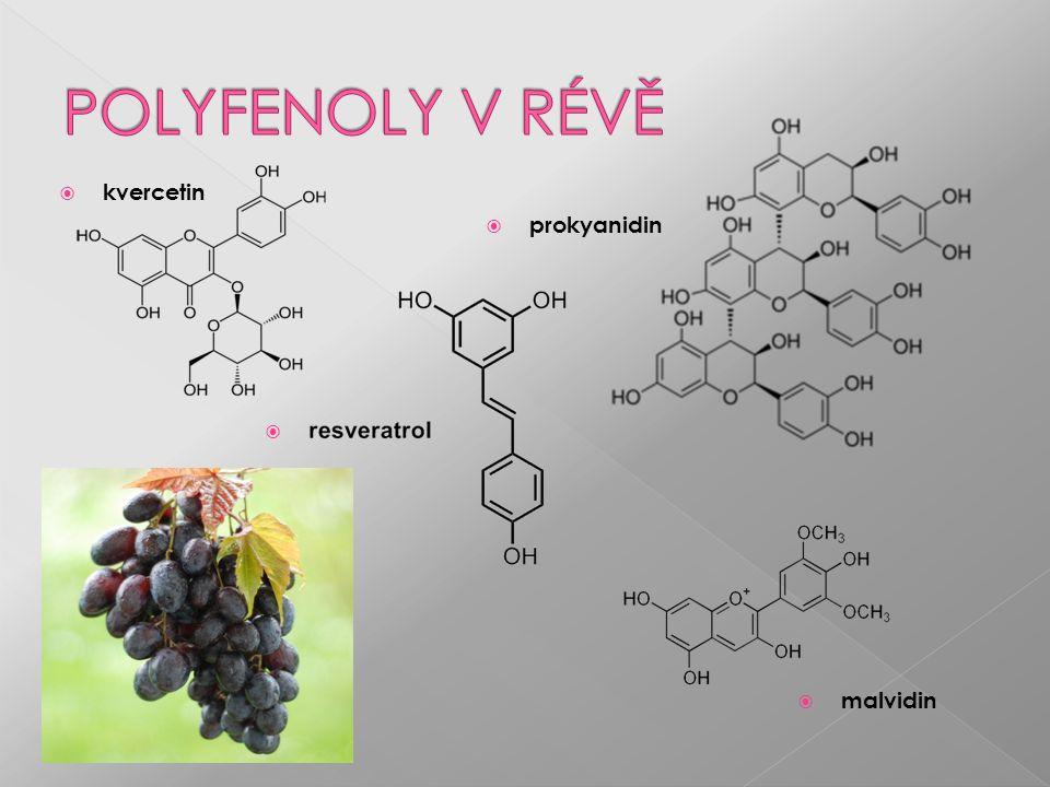  Antioxidanty  Komplexy s ionty kovů (taniny)  Vazba s bílkovinami (taniny)  Adstringencia (taniny)  Antibakteriální vlastnosti (kvercetin)  Protizánětlivé (resveratrol)  Protinádorové (antokyany, resveratrol)  Inhibice trombocytů, kontraktilita hl.sval.buněk (katechiny, antokyany)