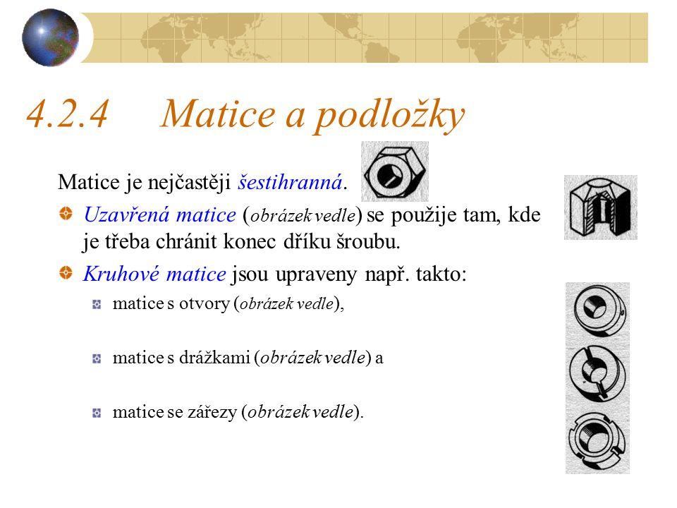 4.2.4Matice a podložky Matice je nejčastěji šestihranná.