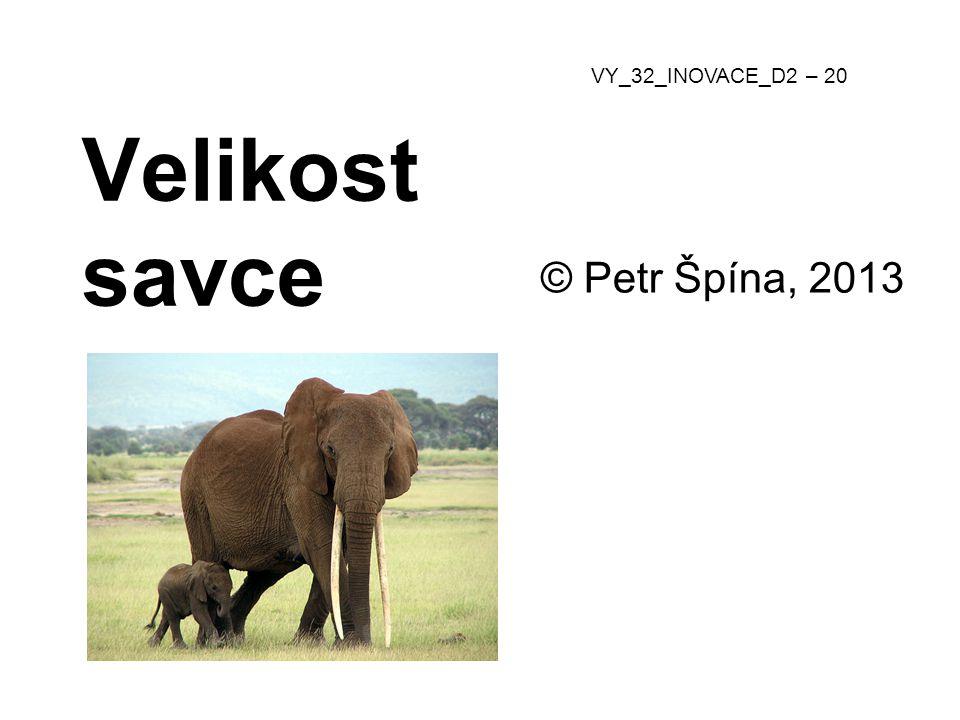 © Petr Špína, 2013 VY_32_INOVACE_D2 – 20 Velikost savce