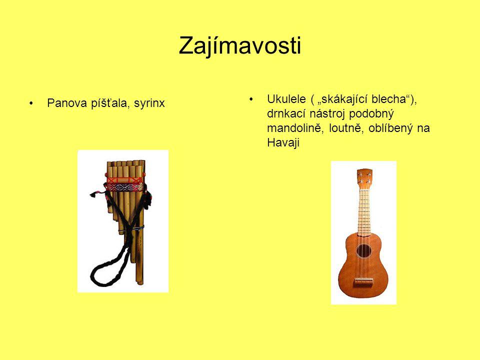 """Zajímavosti Panova píšťala, syrinx Ukulele ( """"skákající blecha""""), drnkací nástroj podobný mandolině, loutně, oblíbený na Havaji"""