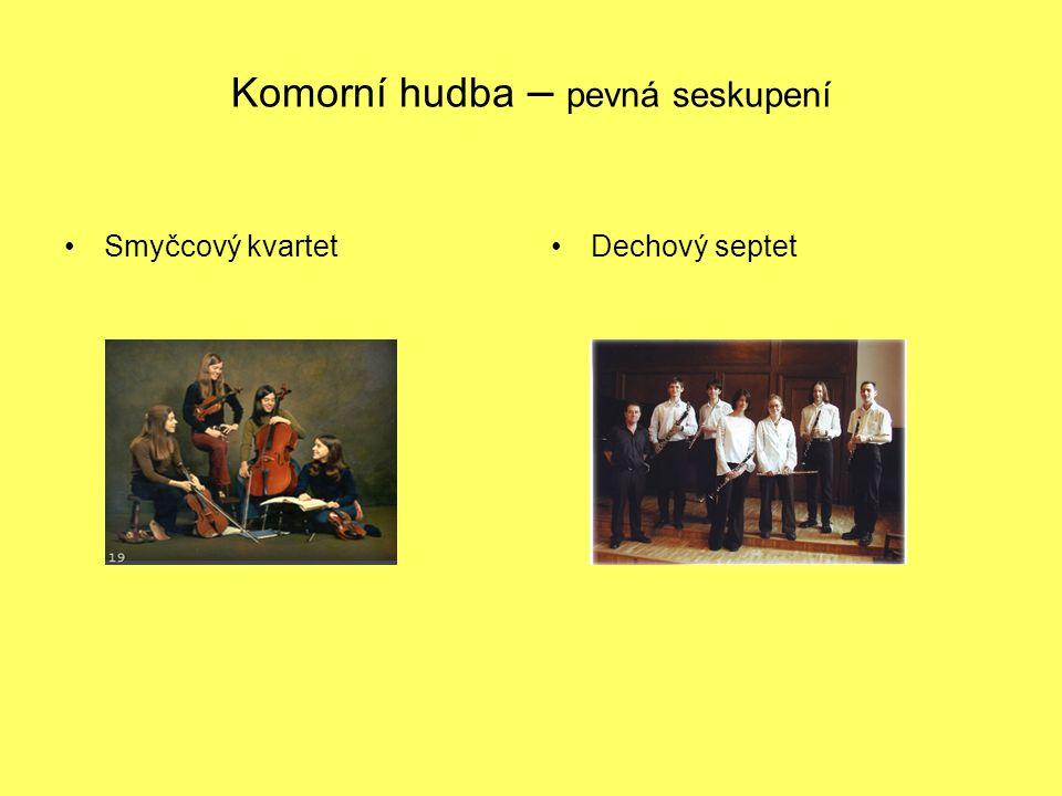 Komorní hudba – pevná seskupení Smyčcový kvartetDechový septet
