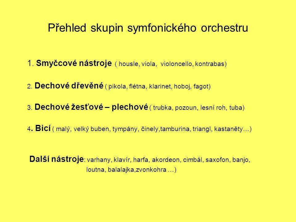 Přehled skupin symfonického orchestru 1. Smyčcové nástroje ( housle, viola, violoncello, kontrabas) 2. Dechové dřevěné ( pikola, flétna, klarinet, hob
