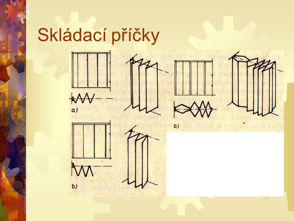 Skládací příčky SSkládá se z přesného osazení vrchního vedení, jeho vyvážení do roviny a následného postupného zavěšení křídel skládací příčky. Po z