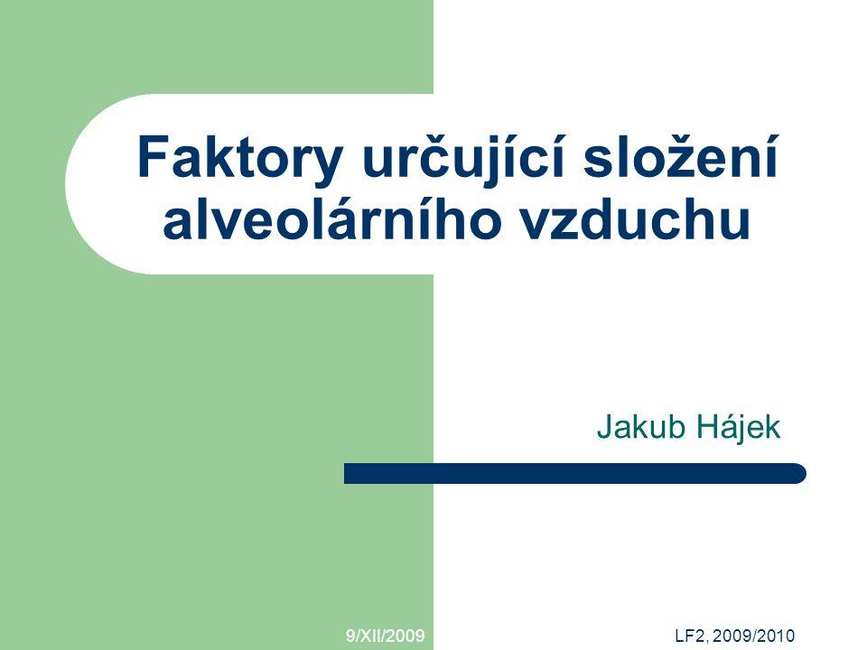 9/XII/2009 Faktory určující složení alveolárního vzduchu / Jakub Hájek Alveolární ventilace vysoká dechová frekvence  malý dechový objem  nízká ventilace nízká dechová frekvence  velký dechový objem  vysoká ventilace, ale velká práce