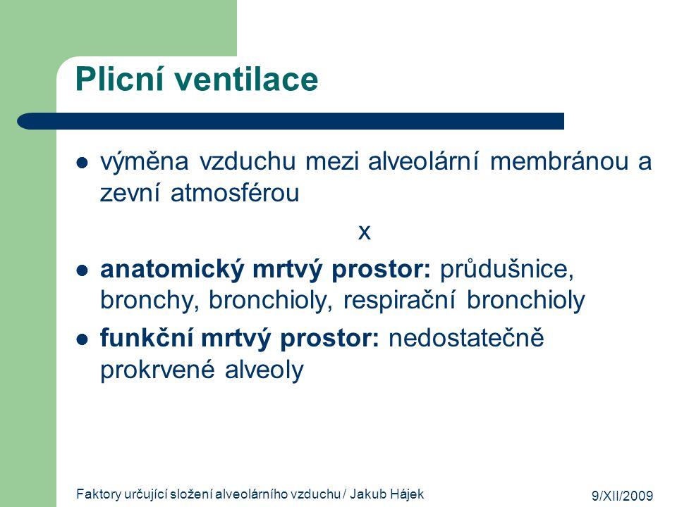 9/XII/2009 Faktory určující složení alveolárního vzduchu / Jakub Hájek zdroje Guyton, Arthur C.