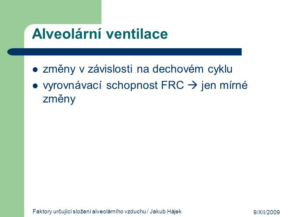 9/XII/2009 Faktory určující složení alveolárního vzduchu / Jakub Hájek Alveolární ventilace změny v závislosti na dechovém cyklu vyrovnávací schopnost