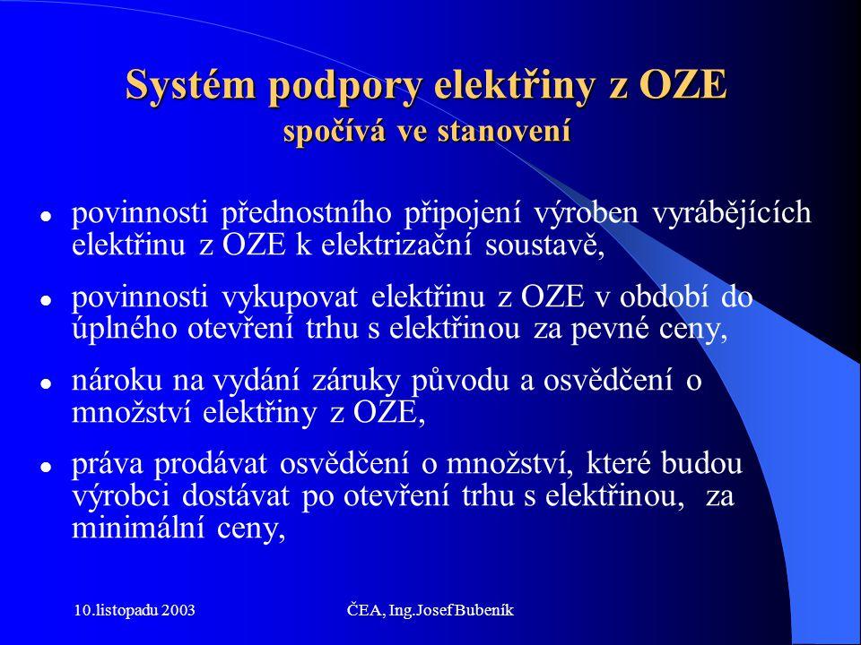 10.listopadu 2003ČEA, Ing.Josef Bubeník Systém podpory elektřiny z OZE spočívá ve stanovení povinnosti přednostního připojení výroben vyrábějících elektřinu z OZE k elektrizační soustavě, povinnosti vykupovat elektřinu z OZE v období do úplného otevření trhu s elektřinou za pevné ceny, nároku na vydání záruky původu a osvědčení o množství elektřiny z OZE, práva prodávat osvědčení o množství, které budou výrobci dostávat po otevření trhu s elektřinou, za minimální ceny,