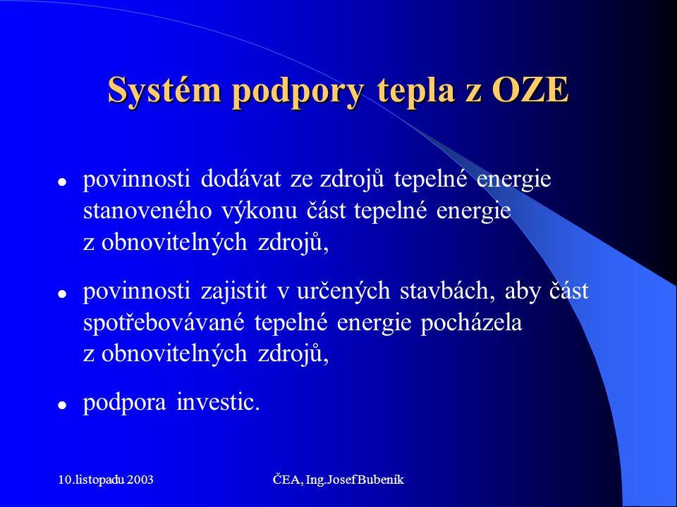 10.listopadu 2003ČEA, Ing.Josef Bubeník Systém podpory tepla z OZE povinnosti dodávat ze zdrojů tepelné energie stanoveného výkonu část tepelné energie z obnovitelných zdrojů, povinnosti zajistit v určených stavbách, aby část spotřebovávané tepelné energie pocházela z obnovitelných zdrojů, podpora investic.