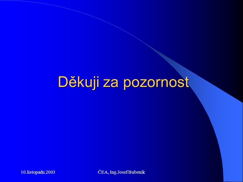 10.listopadu 2003ČEA, Ing.Josef Bubeník Děkuji za pozornost