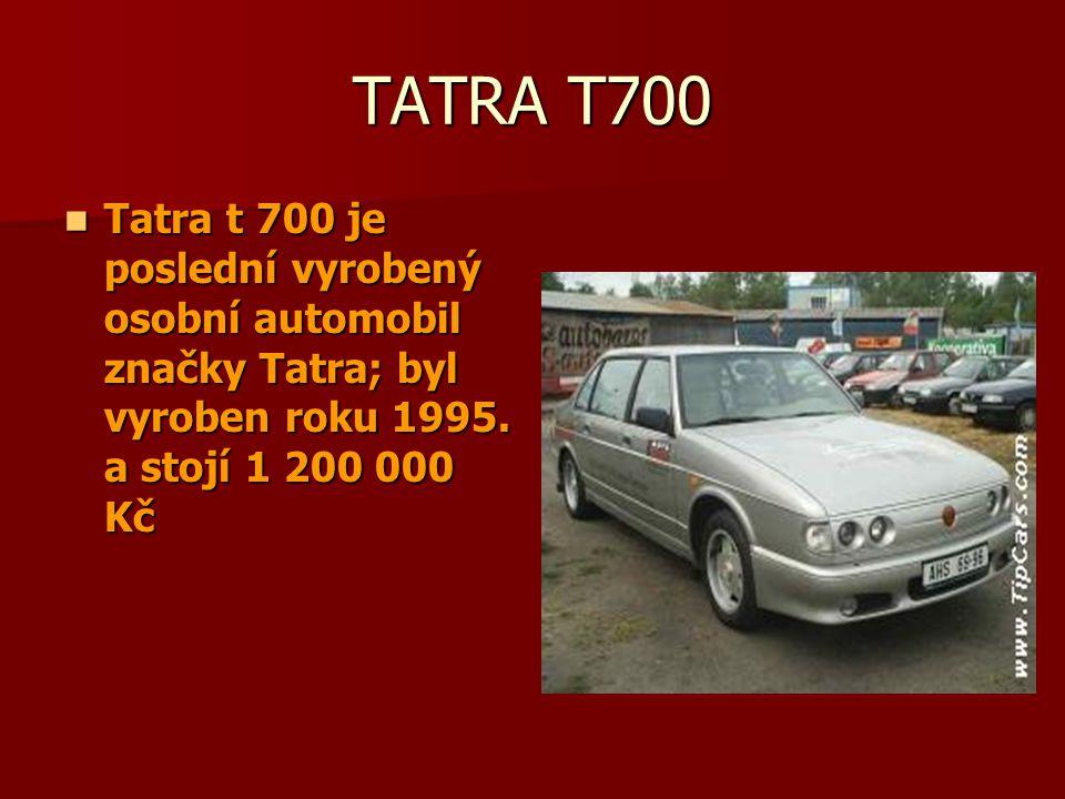 Tatra 603 a 613 První obraz je Tatra 603, je to nejluxusnější automobil Tatry jezdily v něm prezidenti Na druhem obrázku je Tatra 613, která se vyrobila roku 1987 a je také velmi luxusní