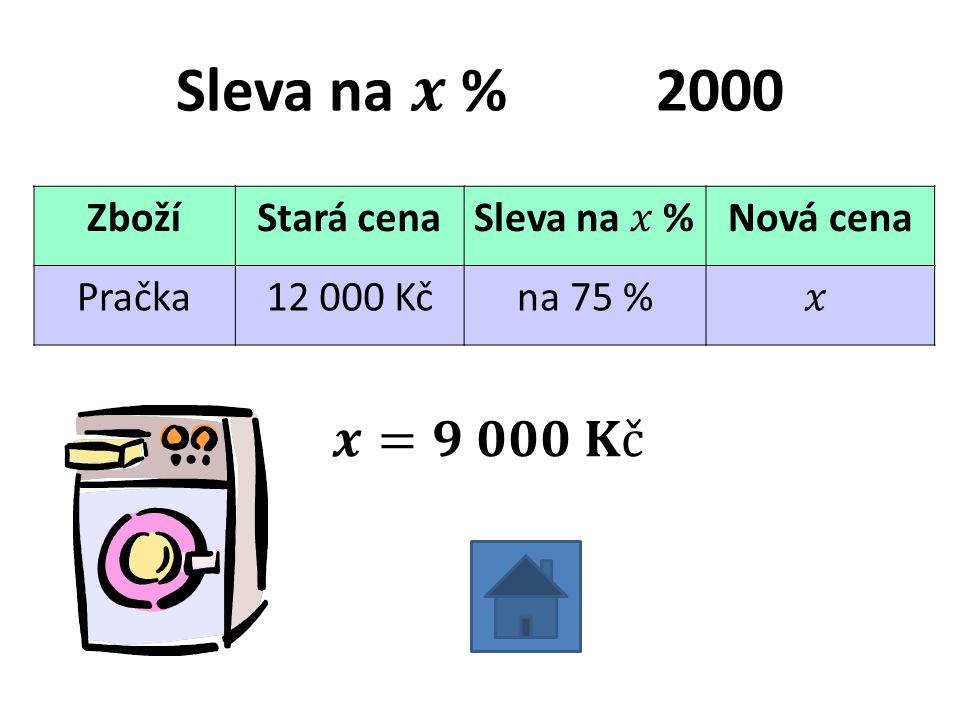 ZbožíStará cenaNová cena Pračka12 000 Kčna 75 %