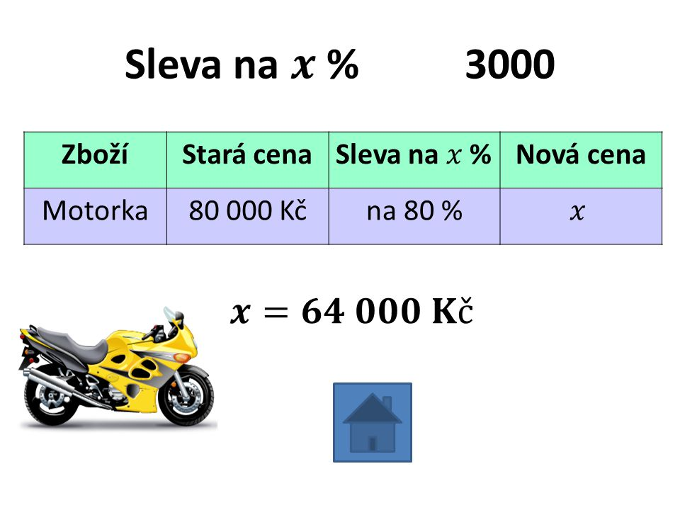 ZbožíStará cenaNová cena Motorka80 000 Kčna 80 %