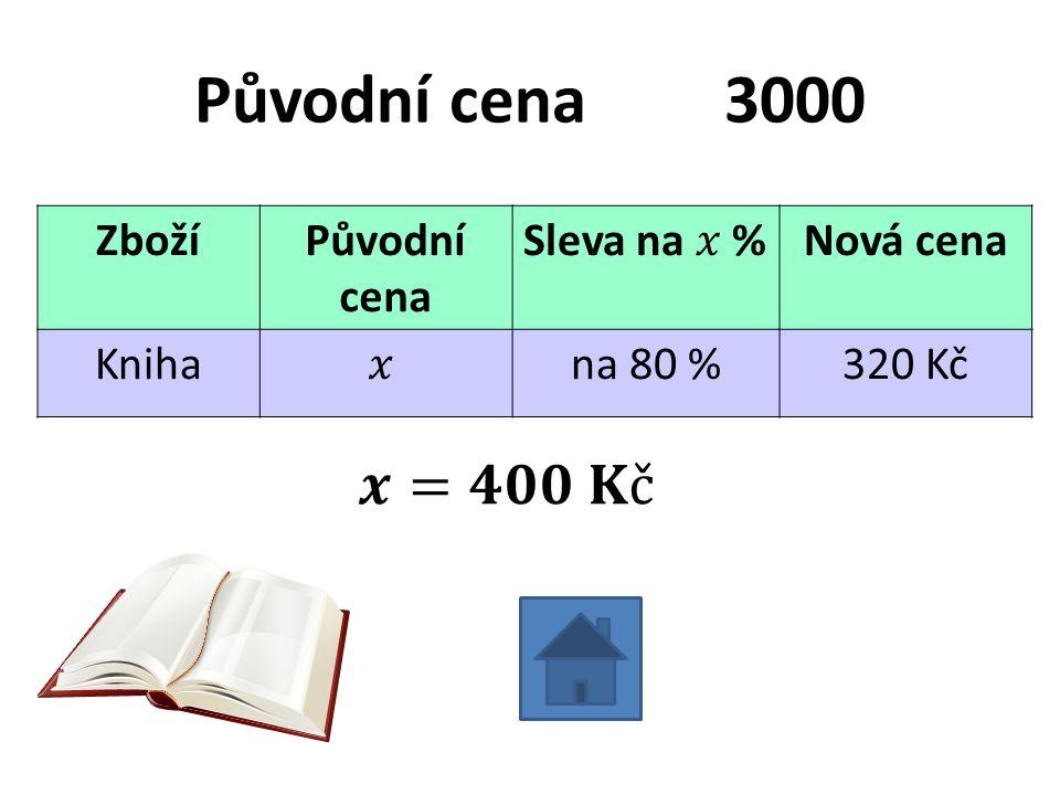 Původní cena3000 ZbožíPůvodní cena Nová cena Knihana 80 %320 Kč