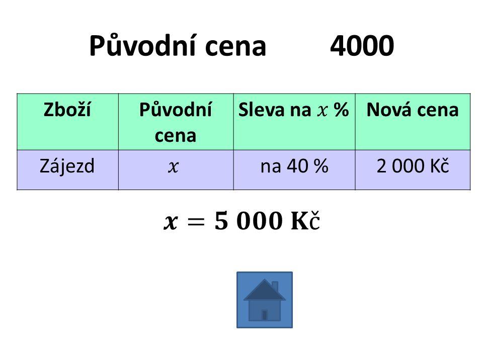 Původní cena4000 ZbožíPůvodní cena Nová cena Zájezdna 40 %2 000 Kč