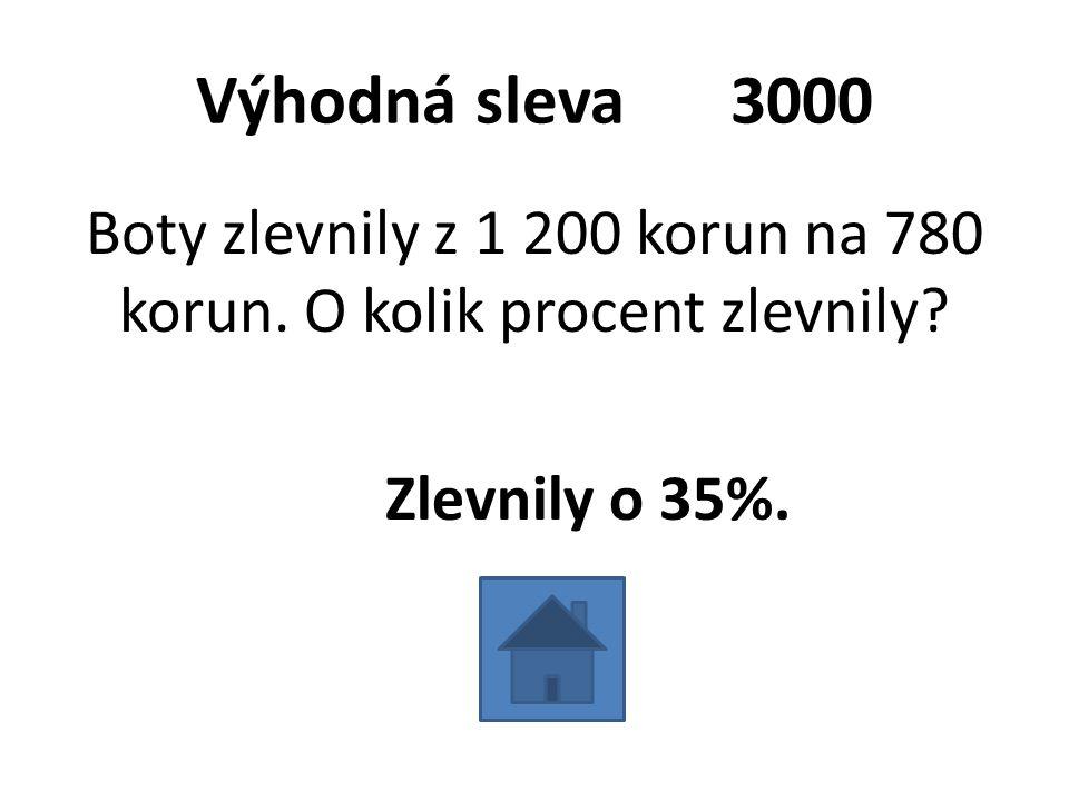 Výhodná sleva 3000 Boty zlevnily z 1 200 korun na 780 korun.