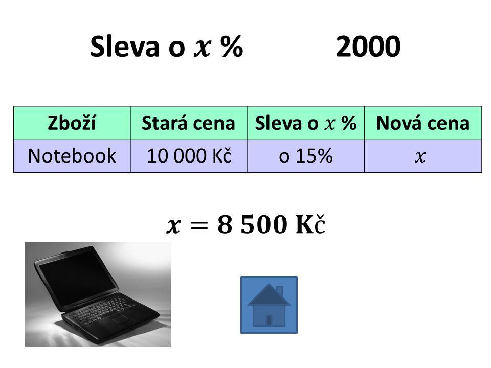 ZbožíStará cenaNová cena Notebook10 000 Kčo 15%