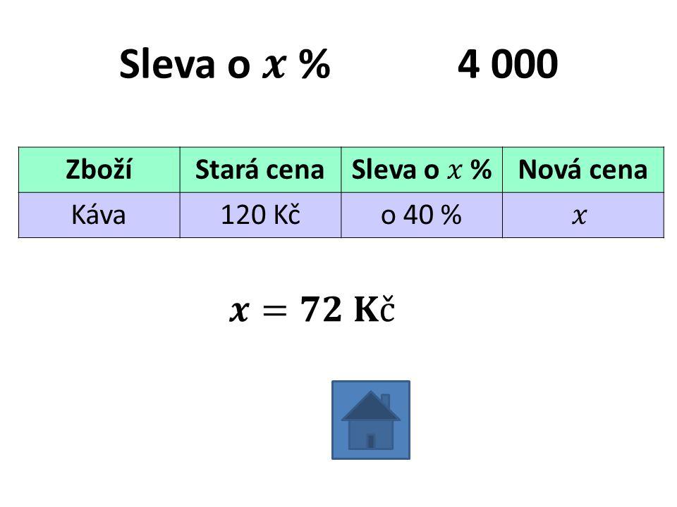 ZbožíStará cenaNová cena Káva120 Kčo 40 %