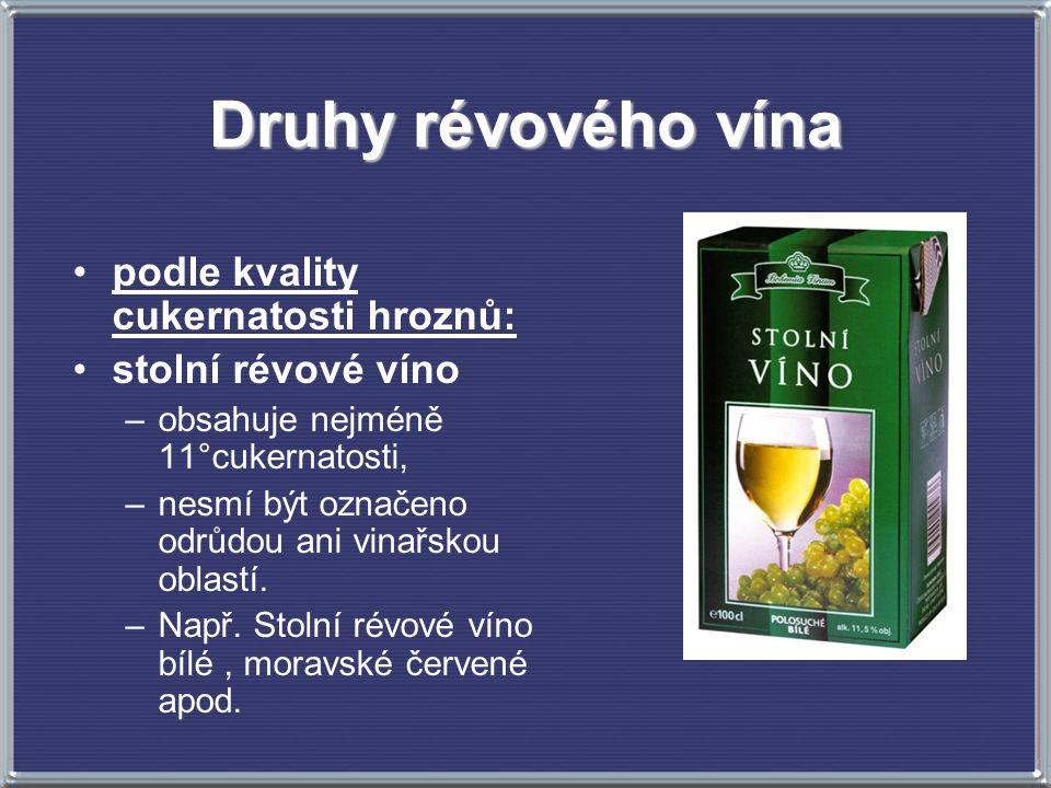 Druhy révového vína podle kvality cukernatosti hroznů: stolní révové víno –obsahuje nejméně 11°cukernatosti, –nesmí být označeno odrůdou ani vinařskou oblastí.