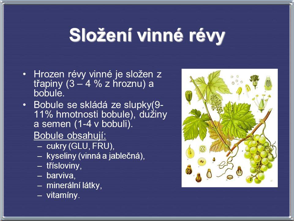 Složení vinné révy Hrozen révy vinné je složen z třapiny (3 – 4 % z hroznu) a bobule. Bobule se skládá ze slupky(9- 11% hmotnosti bobule), dužiny a se