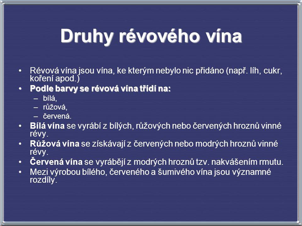 Druhy révového vína Révová vína jsou vína, ke kterým nebylo nic přidáno (např. líh, cukr, koření apod.) Podle barvy se révová vína třídí na:Podle barv