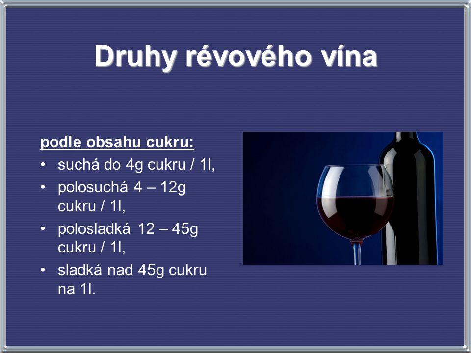 Druhy révového vína podle obsahu cukru: suchá do 4g cukru / 1l, polosuchá 4 – 12g cukru / 1l, polosladká 12 – 45g cukru / 1l, sladká nad 45g cukru na 1l.