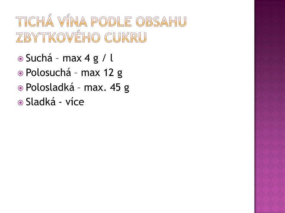  Suchá – max 4 g / l  Polosuchá – max 12 g  Polosladká – max. 45 g  Sladká - více