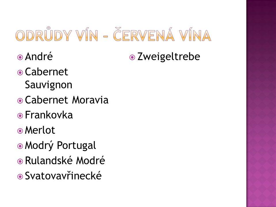  André  Cabernet Sauvignon  Cabernet Moravia  Frankovka  Merlot  Modrý Portugal  Rulandské Modré  Svatovavřinecké  Zweigeltrebe