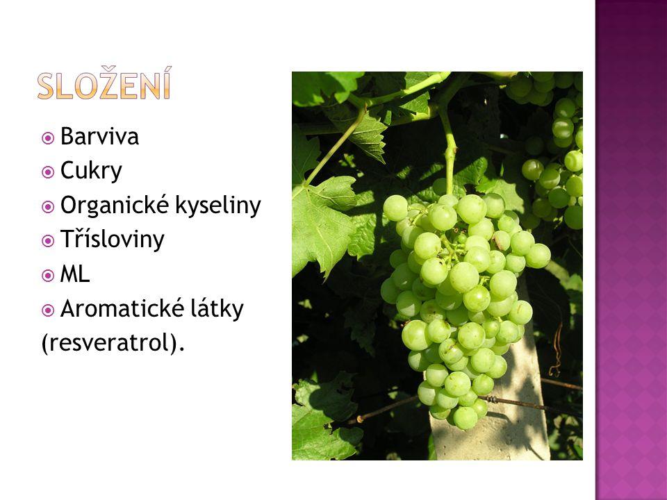  Barviva  Cukry  Organické kyseliny  Třísloviny  ML  Aromatické látky (resveratrol).