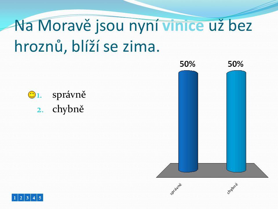 Na Moravě jsou nyní vinice už bez hroznů, blíží se zima. 12345 1. správně 2. chybně