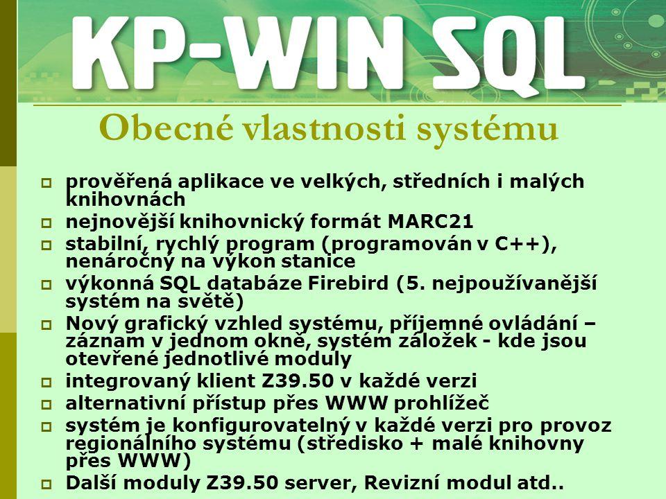 Střední knihovna + obecní knihovny  KPwinSQL 85000,-Kč pro 5 uživatelů, 20 tis.