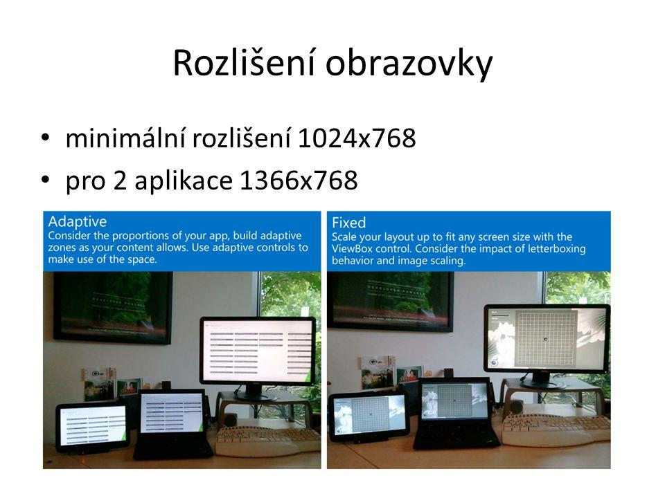 Rozlišení obrazovky minimální rozlišení 1024x768 pro 2 aplikace 1366x768