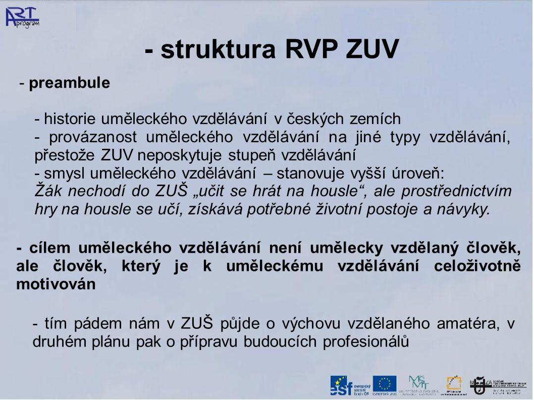 """- struktura RVP ZUV - preambule - historie uměleckého vzdělávání v českých zemích - provázanost uměleckého vzdělávání na jiné typy vzdělávání, přestože ZUV neposkytuje stupeň vzdělávání - smysl uměleckého vzdělávání – stanovuje vyšší úroveň: Žák nechodí do ZUŠ """"učit se hrát na housle , ale prostřednictvím hry na housle se učí, získává potřebné životní postoje a návyky."""