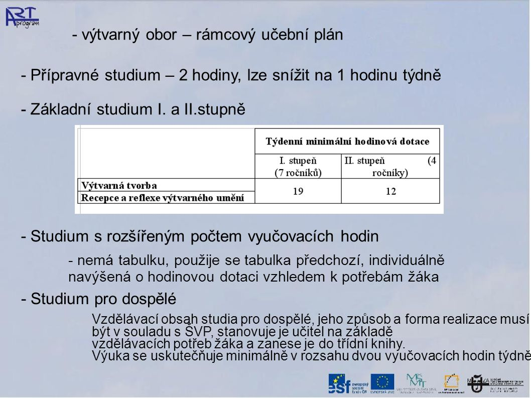 - výtvarný obor – rámcový učební plán - Přípravné studium – 2 hodiny, lze snížit na 1 hodinu týdně - Základní studium I. a II.stupně - Studium s rozší