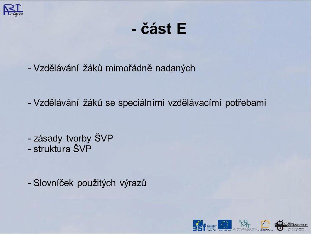 - část E - Vzdělávání žáků mimořádně nadaných - Vzdělávání žáků se speciálními vzdělávacími potřebami - zásady tvorby ŠVP - struktura ŠVP - Slovníček