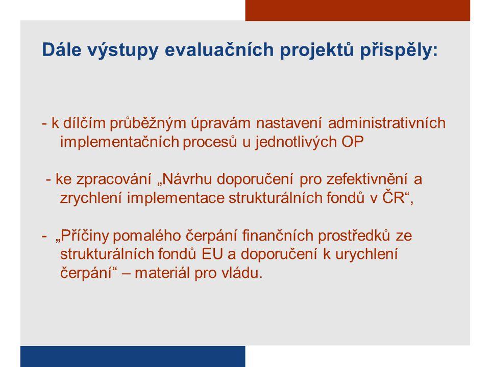 """Dále výstupy evaluačních projektů přispěly: - k dílčím průběžným úpravám nastavení administrativních implementačních procesů u jednotlivých OP - ke zpracování """"Návrhu doporučení pro zefektivnění a zrychlení implementace strukturálních fondů v ČR , - """"Příčiny pomalého čerpání finančních prostředků ze strukturálních fondů EU a doporučení k urychlení čerpání – materiál pro vládu."""