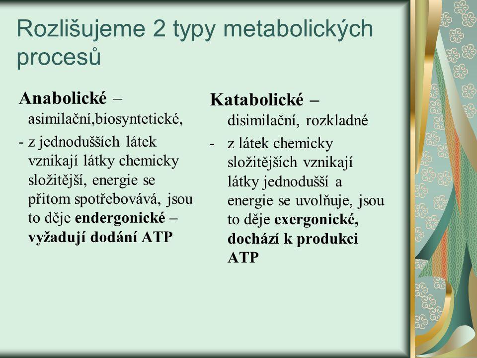 Rozlišujeme 2 typy metabolických procesů Anabolické – asimilační,biosyntetické, - z jednodušších látek vznikají látky chemicky složitější, energie se přitom spotřebovává, jsou to děje endergonické – vyžadují dodání ATP Katabolické – disimilační, rozkladné - z látek chemicky složitějších vznikají látky jednodušší a energie se uvolňuje, jsou to děje exergonické, dochází k produkci ATP