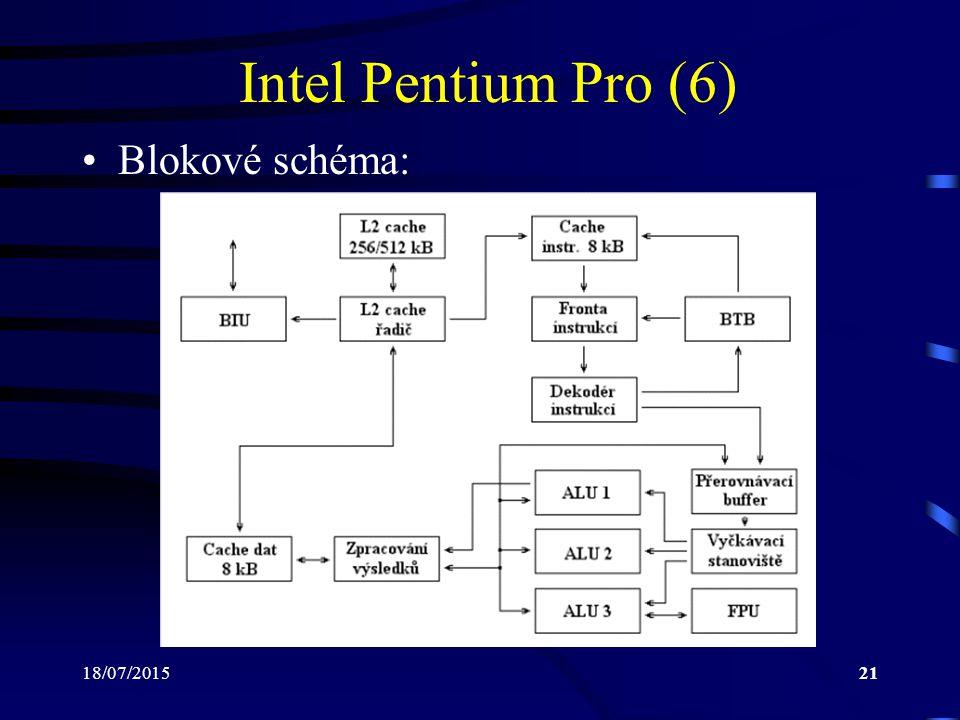 18/07/201521 Intel Pentium Pro (6) Blokové schéma: