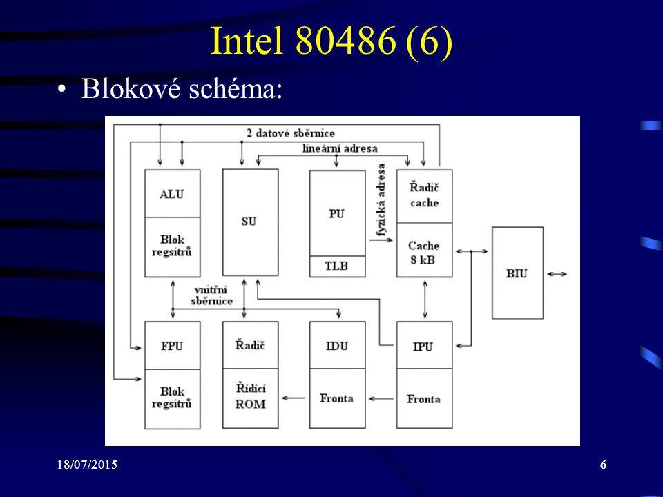 18/07/20156 Intel 80486 (6) Blokové schéma: