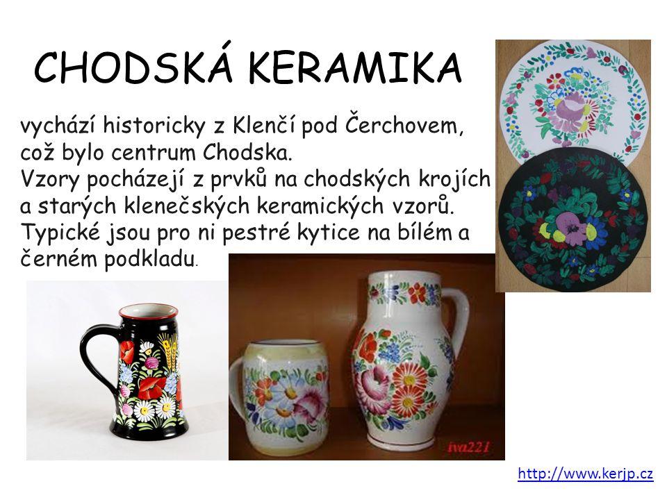 vychází historicky z Klenčí pod Čerchovem, což bylo centrum Chodska. Vzory pocházejí z prvků na chodských krojích a starých klenečských keramických vz