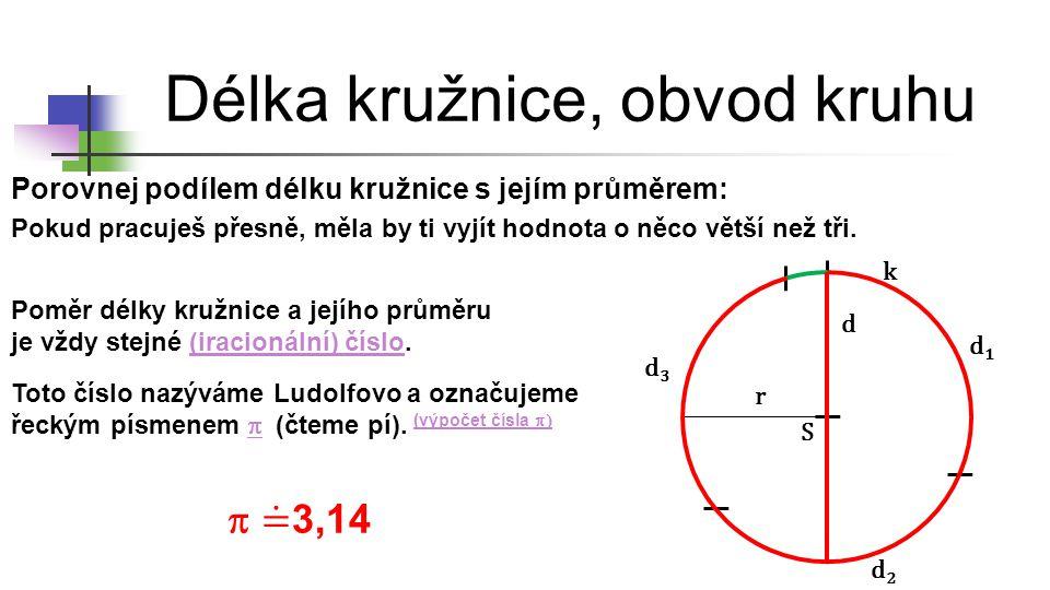 Délka kružnice, obvod kruhu r d S K r d S k k o =  ∙ d d = 2 ∙ r o = 2 ∙  ∙ r