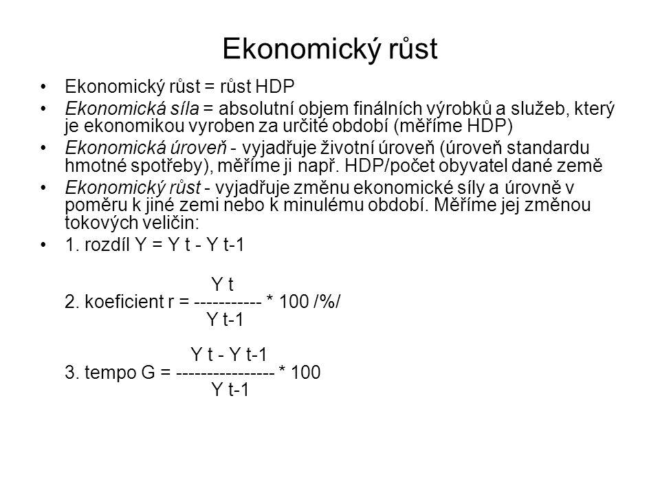 Ekonomický růst = růst HDP Ekonomická síla = absolutní objem finálních výrobků a služeb, který je ekonomikou vyroben za určité období (měříme HDP) Eko