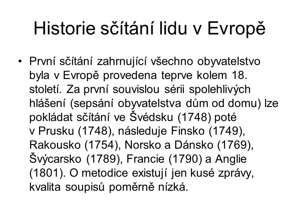Historie sčítání lidu v Evropě První sčítání zahrnující všechno obyvatelstvo byla v Evropě provedena teprve kolem 18. století. Za první souvislou séri