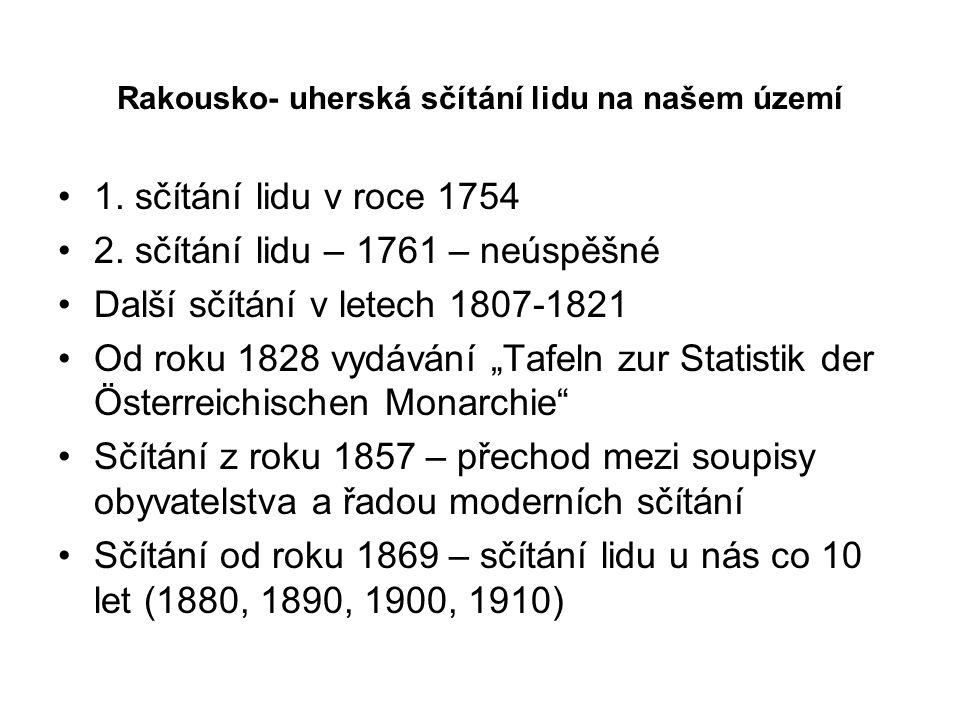 Rakousko- uherská sčítání lidu na našem území 1. sčítání lidu v roce 1754 2. sčítání lidu – 1761 – neúspěšné Další sčítání v letech 1807-1821 Od roku