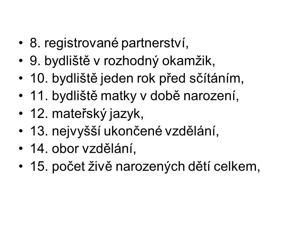 8. registrované partnerství, 9. bydliště v rozhodný okamžik, 10. bydliště jeden rok před sčítáním, 11. bydliště matky v době narození, 12. mateřský ja