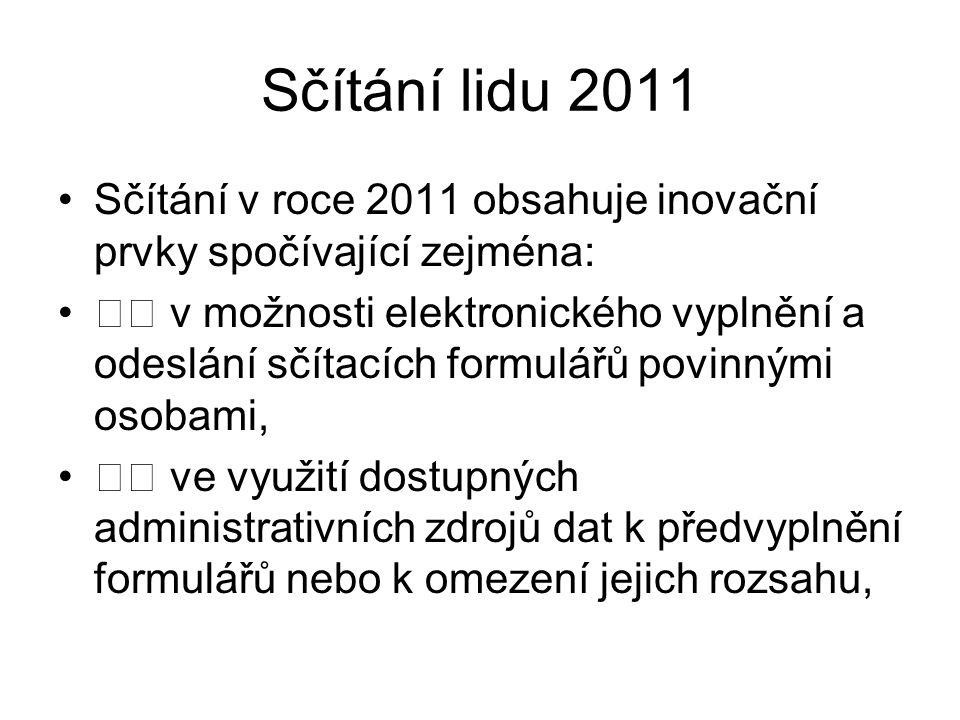Sčítání lidu 2011 Sčítání v roce 2011 obsahuje inovační prvky spočívající zejména: v možnosti elektronického vyplnění a odeslání sčítacích formulářů p