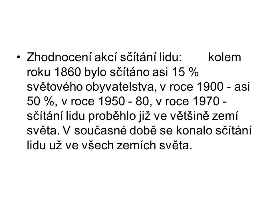 Zhodnocení akcí sčítání lidu:kolem roku 1860 bylo sčítáno asi 15 % světového obyvatelstva, v roce 1900 - asi 50 %, v roce 1950 - 80, v roce 1970 - sčí