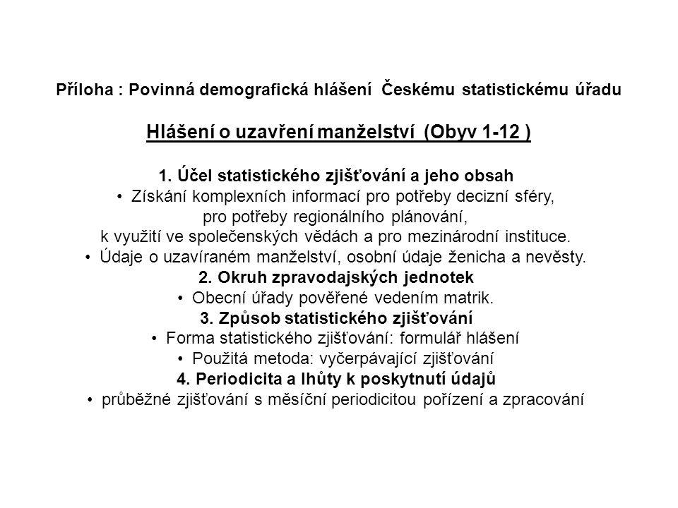 Příloha : Povinná demografická hlášení Českému statistickému úřadu Hlášení o uzavření manželství (Obyv 1-12 ) 1. Účel statistického zjišťování a jeho
